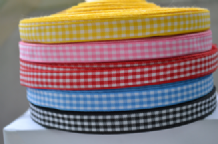 "10mm (3/8""0 ASSORTED GINGHAM COTTON RIBBONS 3 meters"